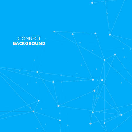 Abstract polygonal background with connecting dots and lines on blue background