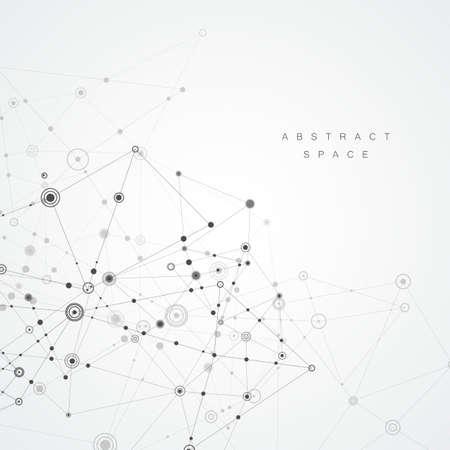 Fondo poligonale astratto. Design geometrico con punti e linee di collegamento