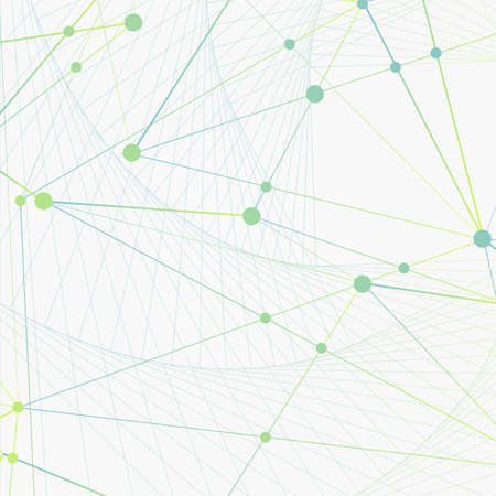 Big data and connect tecnology background with neural network. Vector illustration