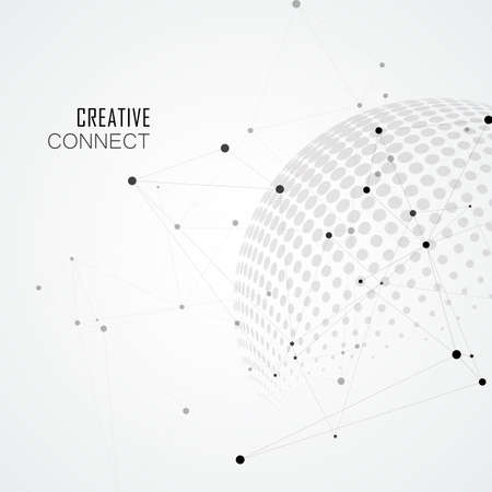 Halftone spheres with world globe and connect concept design. Vector communication illustration Çizim