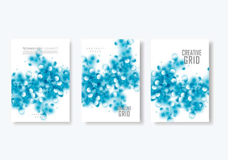 Modern vector templates for brochure cover in A4 size. Polygonal space background with connecting dots and lines Çizim