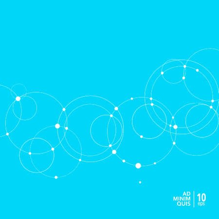 Abstract background with overlapping circles and dots. Vector science and connection concept Stok Fotoğraf - 130841564