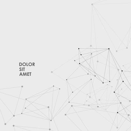 Vector connection structure and polygonal space background with connecting dots and lines Çizim