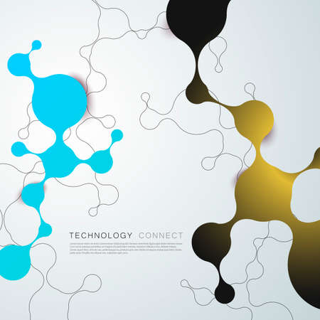 Global network connection. Global geometric connected abstract background. Vector circles and lines Stok Fotoğraf - 130841746