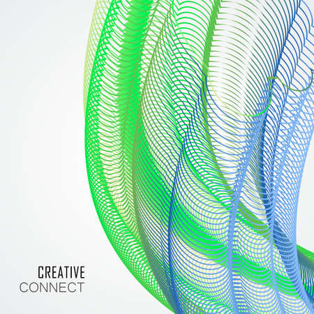 Abstract wave digital element for design and color line art background. Vector illustration.