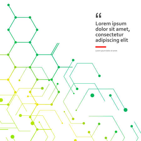 Vector illustration green connect hexagons connect abstract background. Technology dots and broken lines.