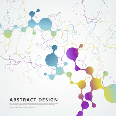 Connected lines and dots. Vector technology concept background