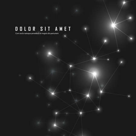 Abstract connected dots and lines on black vector background with text Illustration