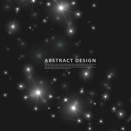 Abstract polygonal black background with connecting dots and lines. Connection structure and vector science background.