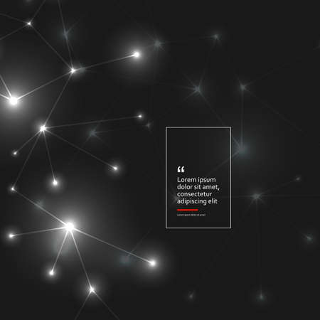 Abstract polygonal black background with connecting dots and lines. Connection structure and vector science background