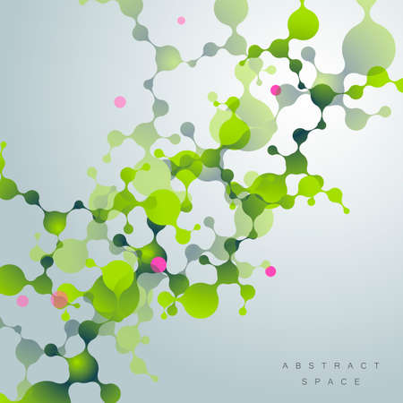 Science background with cells. Vector biology and medicine and bacteria and DNA design illustration.