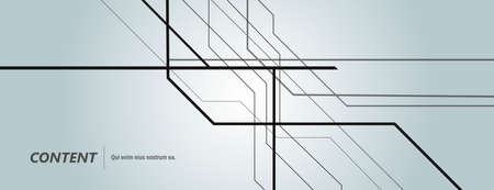 Vector black technology lines on banner background. Illustration