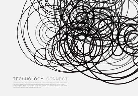 Illustration vectorielle lignes enchevêtrées sur fond blanc. Vecteurs