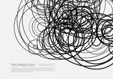 Vector illustration tangled lines on white background.