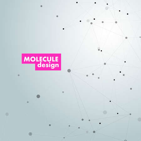 Dna molecule design layout. Abstract nano structure vector background. Vector technology template.