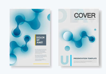 Vector design composition connects abstract shapes for annual report and brochure template and layout and booklet cover advertising.