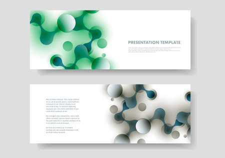 Vector abstract design banner template with connected molecular shapes.