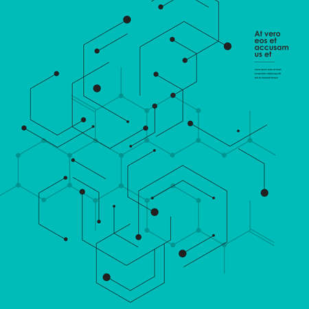 Abstract hexagon connect pattern on green background. Illustration