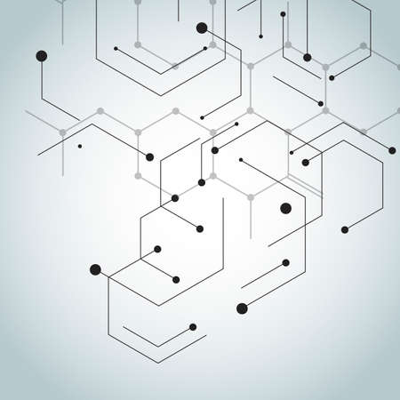 Abstract hexagon connect pattern on gradient background.