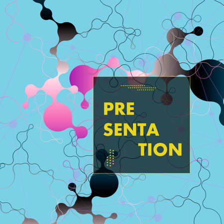 Abstract futuristic design. Molecules technology connected with polygonal shapes technology concept.