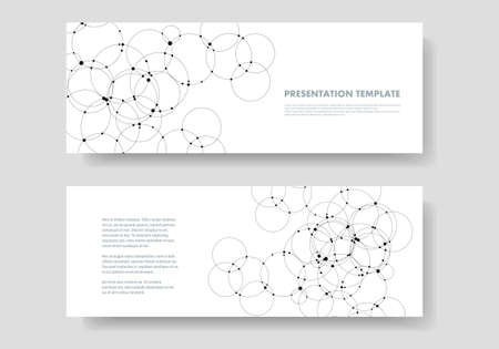 Abstract vector background with connection overlapping circles and dots. Science and technology concept design.