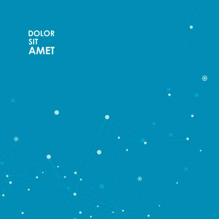 Vector abstract science background with connected lines and dots and place for text.