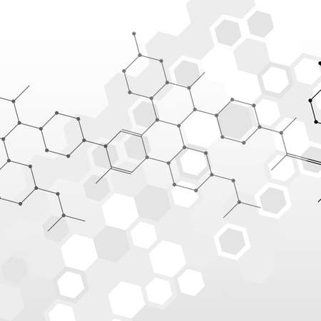 Hexagonal abstract connect background on grey background. Vector illustration.