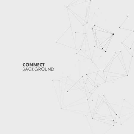 Vector design illustration with connecting dots and lines. Geometric network abstract background.