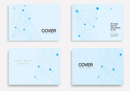 Vector abstract 4 brochures with molecules of black color on white background.