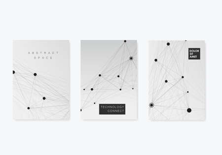 Vector abstract three brochures with molecules of black color on white background.