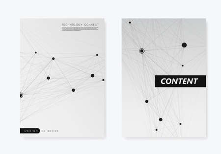 Vector abstract 2 brochures with molecules of black color on white background.