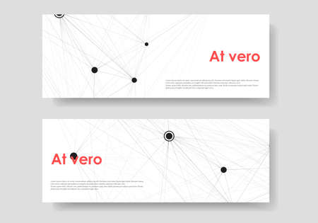 Abstract vector two long banners with black molecules on white background. 일러스트