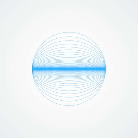 Vector shiny sphere.circle with blue lines in blue on a white background Ilustração