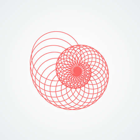 closup snail seashells spiral.seashell which consists red circles white background Illustration