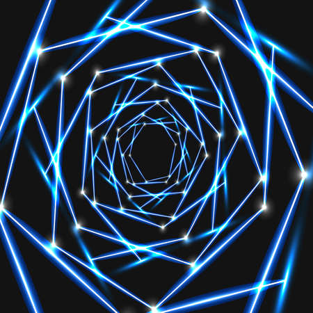 Modern technology illustration with square mesh. Abstract glowing hexagon dark background 일러스트