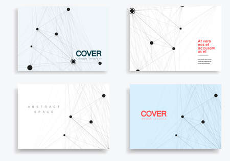 Vector abstract 4 brochures with molecules of black color on white background