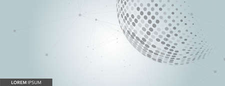 Halftone circle. Vector planet symbol. Abstract dotted globe illustration on white background