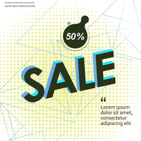 Abstract lettering discount background geometric for flyer design. Vector abstract background. Banner, flyer, brochure Çizim