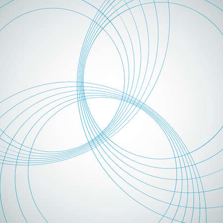 Vector template. Abstract three circles from bright lines.
