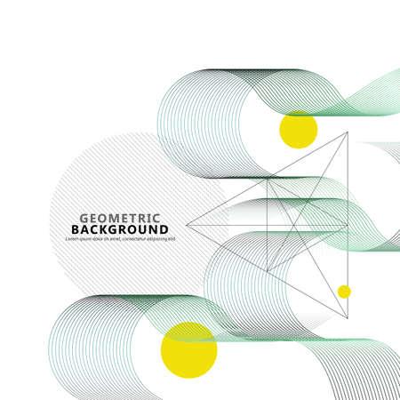 Abstract wave lines for brochure design. Modern digital water wave curve background, line ocean banner illustration Illusztráció
