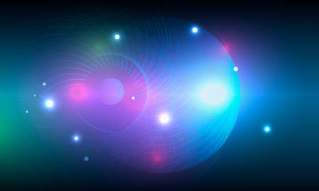 Illustration with bright circle blue space on dark background. Energy wallpaper. Bright star. Colorful set
