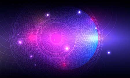 Modern banner. Circular glow. Digital technology background. Bright color. Glow effect Illusztráció