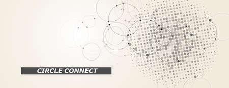 Circle connect in flat style. Halftone dots background. Circle halftone pattern. Vector cover Illusztráció