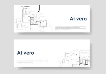 Blank template. Web banner layout. Advertising flyer brochure with connect lines