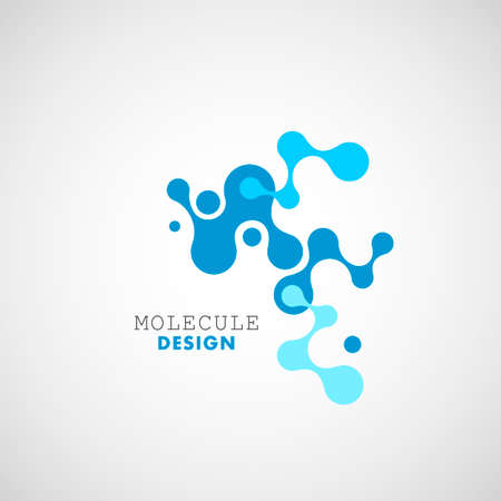 Abstract blue molecules on white background. Vector logo design elements