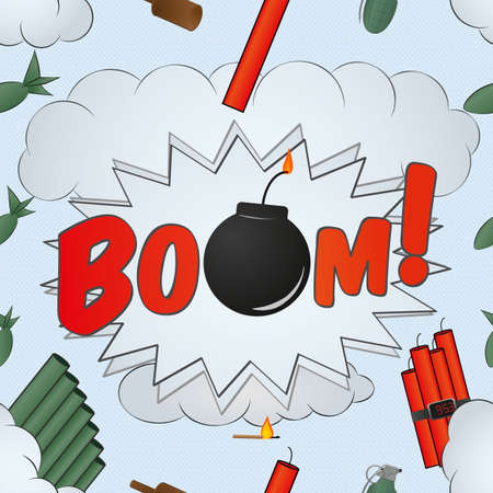 weaponry: explosion big bang pattern - cartoon