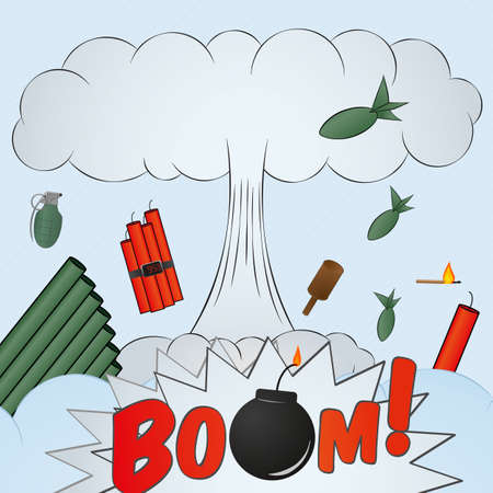 explosion big bang - cartoon Иллюстрация