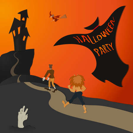 monsters house: Halloween Party - color