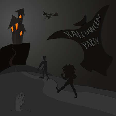 mound: Halloween Party - greytones silhouette
