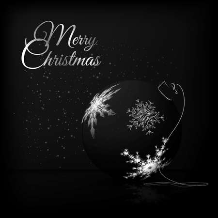 black and silver: An elegant composition with Christmas ball in fashionable black and white colors. The illustration is perfect for greeting cards, Christmas promotions, gift leaflet etc.